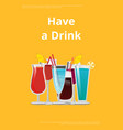 have drink manual page design with decor glasses vector image vector image
