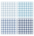 Houndstooth tile blue and white pattern set vector image