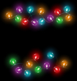 led Christmas lights on black vector image