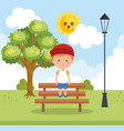 little boy in the park character vector image vector image