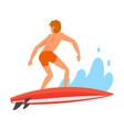 male surfer character riding waves recreational vector image vector image