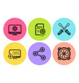 Monitor settings seo and share icons set