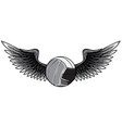 monochromatic volleyball ball logo with long wings vector image