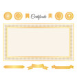 official certificate gold decorative elements set vector image