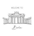 one continuous line drawing brandenburg gate vector image