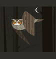 owl hunts in the night forest vector image vector image