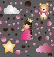 pattern with cartoon cute toy baby girl and bear vector image