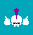 punk skull with mohawk and head skeleton vector image