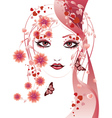 Red floral girl vector image vector image
