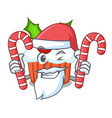 santa with candy delicious christmas cupcakes vector image