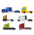 semi truck set isolated traction unit rig vector image vector image