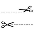 set black scissors with cut lines on white vector image vector image