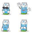 set of milk box character with cool waving afraid vector image