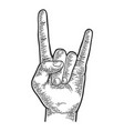 sign of horns hand gesture sketch engraving vector image vector image