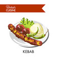 tasty juicy kebab with roasted vegetables and rice vector image