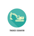 tracked excavator silhouette with shadow icon on vector image vector image