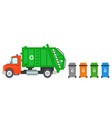 trash recycle transportation truck garbage vector image vector image