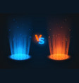 versus glowing spotlight red and blue colors vs vector image vector image
