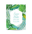 wedding invitation template with palm leaves vector image vector image
