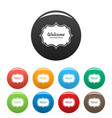 weicome label icons set color vector image vector image
