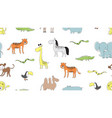 wild animal pattern doodle snake leo and tiger vector image vector image