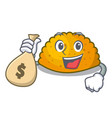 with money bag character jamaican patties on the vector image vector image
