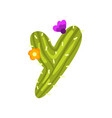 y letter in the form of cactus with blooming vector image vector image