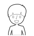 young boy portrait smiling cartoon vector image