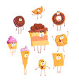 funny sweets standing and smiling set for label vector image
