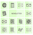 14 newsletter icons vector image vector image
