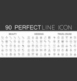 90 modern thin line icons set beauty cosmetics vector image vector image