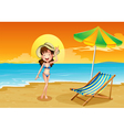 A beach with a girl vector | Price: 1 Credit (USD $1)