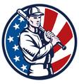 american baseball player retro vector image vector image