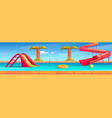 aqua park with swimming pool and water slides vector image vector image