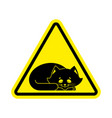 attention sleeping cat caution pet yellow vector image vector image