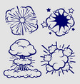 ballpoint sketch explosion clouds isolated vector image