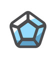 blue diamond adamant icon cartoon vector image