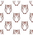 Brown owls silhouette seamless pattern vector image