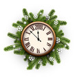 card with clock and christmas wreath vector image