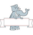Cartoon elephant holding a banner sign vector image vector image