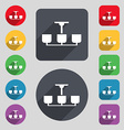 Chandelier Light Lamp icon sign A set of 12 vector image