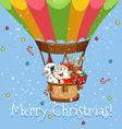 christmas poster with santa on balloon vector image vector image