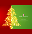 christmas tree lighting on green red background vector image vector image