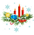 Christmas wreath Spruce branches with candles vector image vector image