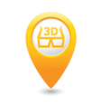 cinema glasses 3d icon yellow map pointer vector image vector image