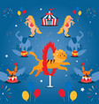 circus show with trained animals performing stunts vector image vector image