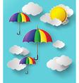 colorful umbrella on sky vector image vector image