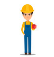 constructor worker handsome builder holding cup vector image