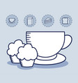cup coffee with cupcake and set icons vector image vector image