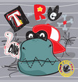 cute cartoon t-rex dinosaur wearing a red hat vector image vector image